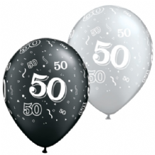 50th Black & Silver - 11 Inch Balloons 25pcs